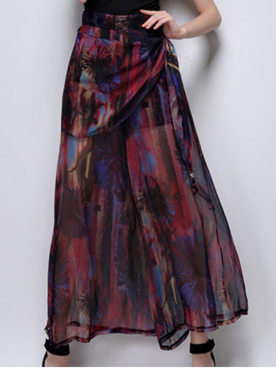 Pantalon de jambe large imprimé abstrait à taille haute - Rouge vineux  L