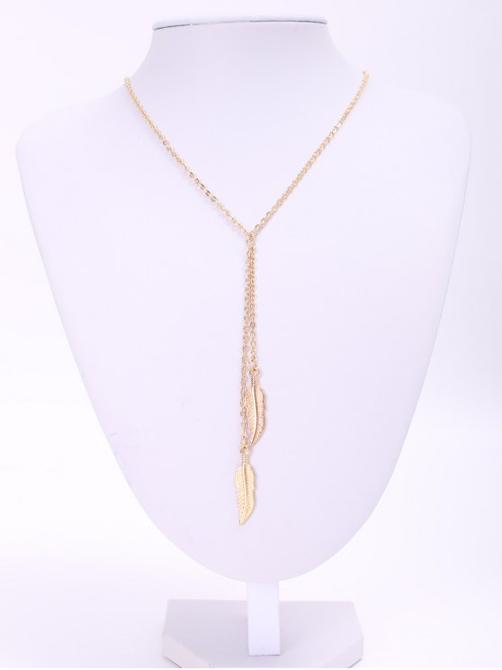 hot Alloy Feather Pendant Necklace - GOLDEN
