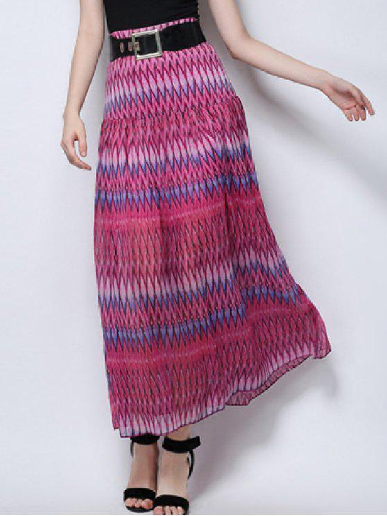 تنورة متعرج طباعة عالية الخصر - ارتفع XL