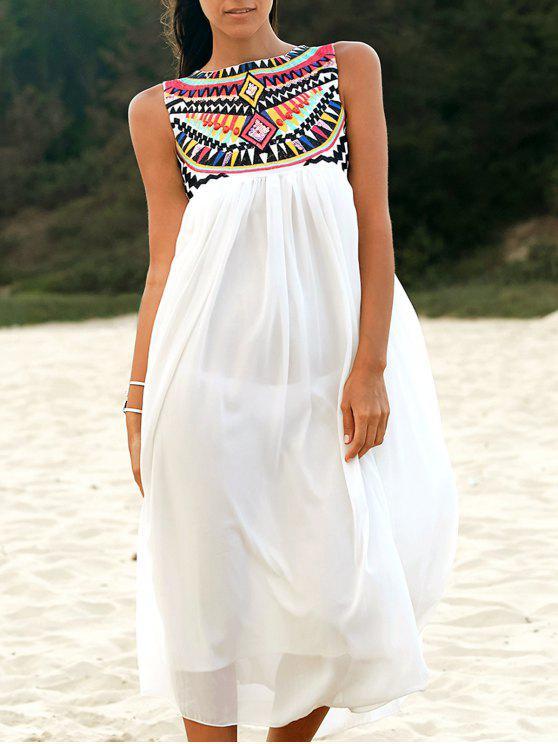 unique Sleeveless Embroidery Round Neck Dress - WHITE XL