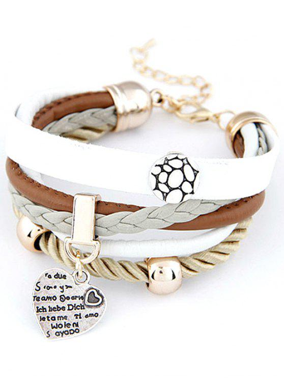 sale Heart Faux Leather Layered Bracelet - WHITE