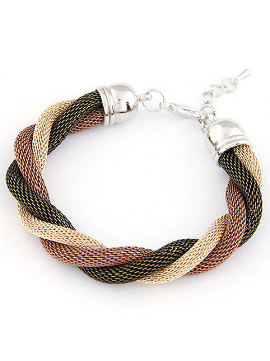 affordable Three Color Match Twining Bracelet - COFFEE