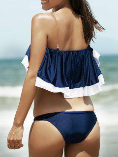 Flounce Off The Shoulder Bikini Set - Blue L