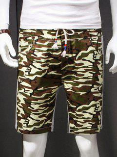 Camouflage Style Lace-Up Slimming Elastic Shorts For Men - Army Green Xl