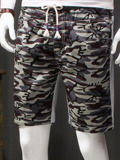 Camouflage Style Lace-Up Slimming Elastic Shorts For Men - Gray L