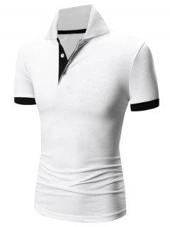 Laconic Turn-down Collar Color Block Short Sleeves Polo T-Shirt For Men - White M