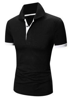 Laconic Turn-down Collar Color Block Short Sleeves Polo T-Shirt For Men - White And Black M