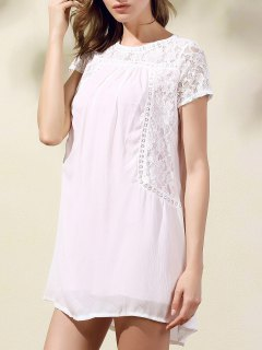 Lace Spliced Round Collar Short Sleeve Dress - Shallow Pink S
