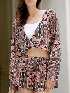 Long Sleeve Front Twist Top + Printed Shorts Twinset - Xl