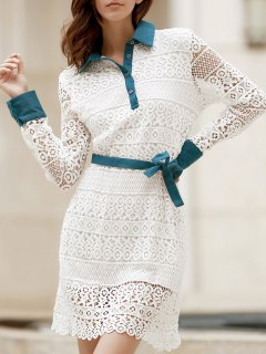 Bowtie Shirt Collar Long Sleeve Lace Dress - White 2xl