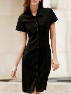 Color Sólido Manga Corta Vestido Que Adelgaza - Negro 2xl