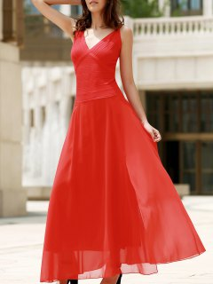 Red Chiffon V Neck Sleeveless Dress - Red S