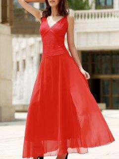 Rouge En Mousseline De Soie Col V Robe Sans Manches - Rouge L
