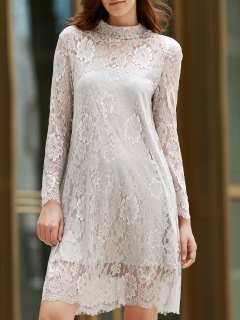 See-Through Long Sleeve Openwork Lace Dress - Light Gray 2xl