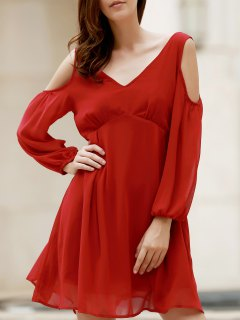 Plunging Neck Chiffon Flowing Dress - Wine Red 2xl