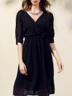 Cut Out V-Neck Half Sleeve Waisted Dress - Black S