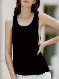 Black Backless U Neck Tank Top - Black S