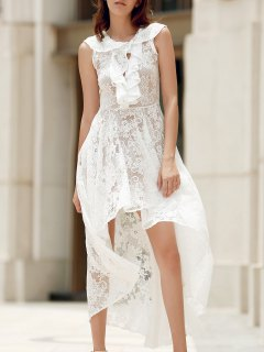 High Low Plunging Neck Lace Up Lace Dress - White S