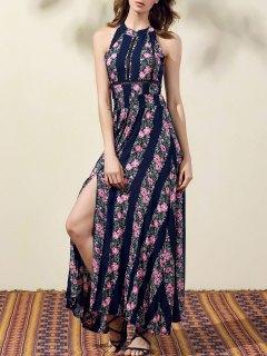 Robe Florale Avec Fentes Hautes à Encolure Bijou Sans Manches - Bleu Violet Xl