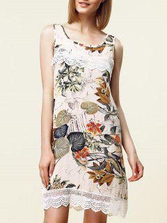 Sweet Sleeveless Lace Embellished Floral Women's Dress - White Xl