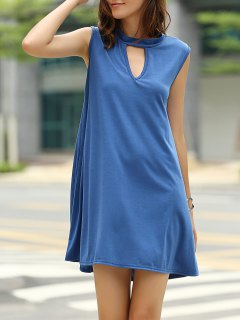 Vestido De Color Sólido Sin Mangas Escote Ojo De La Cerradura Con Estilo Para Las Mujeres - Azul Marino  M