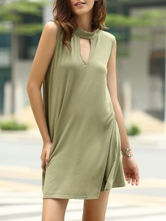 Stylish Keyhole Neckline Sleeveless Solid Color Dress For Women - Army Green L