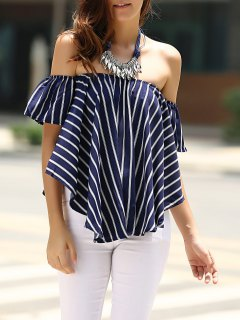 Sweet Off-The-Shoulder Striped T-Shirt For Women - Purplish Blue S