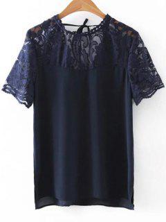 Neck Lace Spliced Round Cut Out T-Shirt - Bleu Cadette M