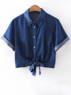 Noué Shirt Col Recadrée Denim Shirt - Bleu L