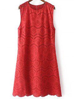 Bordado Vestido Sin Mangas De Cuello Redondo - Rojo S