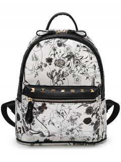 Flower Print Zips Rivet Satchel - White And Black