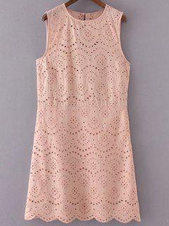 Embroidery Sleeveless Round Neck Dress - Pink S