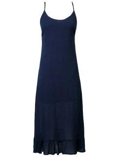 Lace Up Cami Flouncing Dress - Purplish Blue M