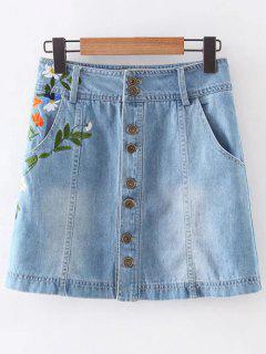 Floral Embroidery Pockets Denim Skirt - Light Blue S