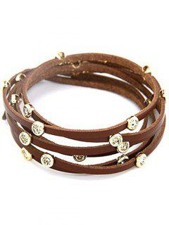 Rhinestone Alloy Faux Leather Strand Bracelet - Coffee