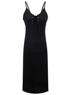 Lace-Up Spaghetti Straps Sleeveless Dress - Black M