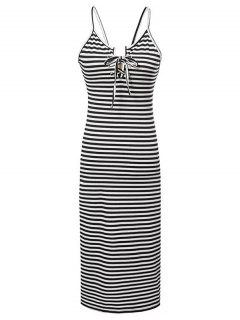 Striped Lace-Up Cami Sleeveless Dress - White And Black M