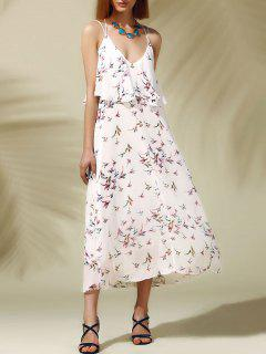 Chic Women's Open Back Print Spaghetti Strap Flounce Dress - Off-white