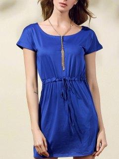 Drawstring Scoop Neck Short Sleeve Dress - Blue S