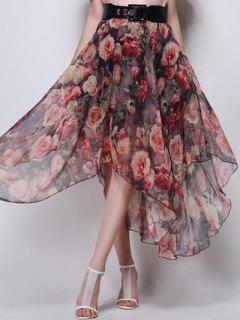 Floral Irregular Falda De Cintura Alta - Rojo S
