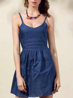 Back Strappy Spaghetti Straps Denim Dress - Blue
