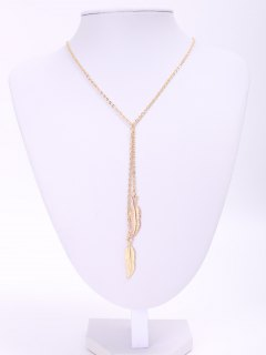 Alloy Feather Pendant Necklace - Golden