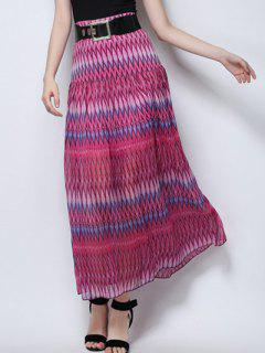 Zig Zag Print High Waist  Skirt - Rose M