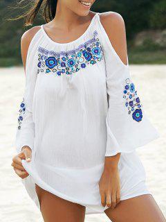 Bordado Vestido De Cuello Redondo Con Hombros - Blanco M