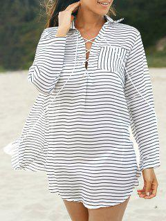 Striped Loose Shirt Collar Long Sleeve Dress - White