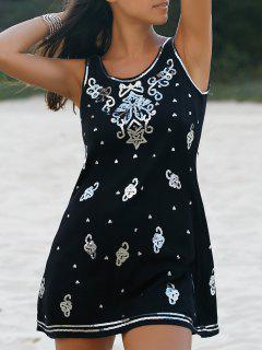 Sequined A-Line Tank Dress - Black Xl
