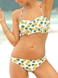 Piña De Impresión Sin Tirantes Del Bikini Set - Amarillo L