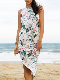 Floral And Bird Print Dress - White S