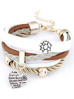 Bracelet Layered Coeur Faux Cuir - Blanc