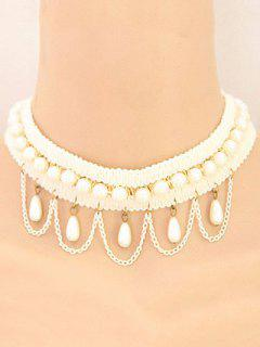 Faux Pearl Tassel Elegant Choker Necklace - White